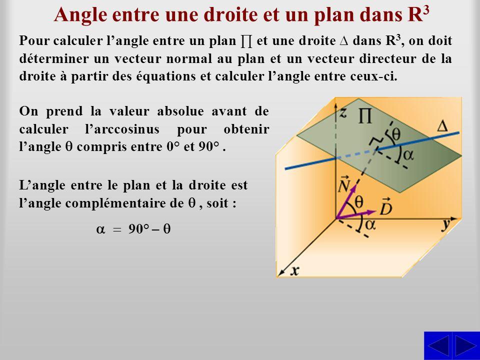 Angle entre une droite et un plan dans R 3 Pour calculer langle entre un plan et une droite dans R 3, on doit déterminer un vecteur normal au plan et