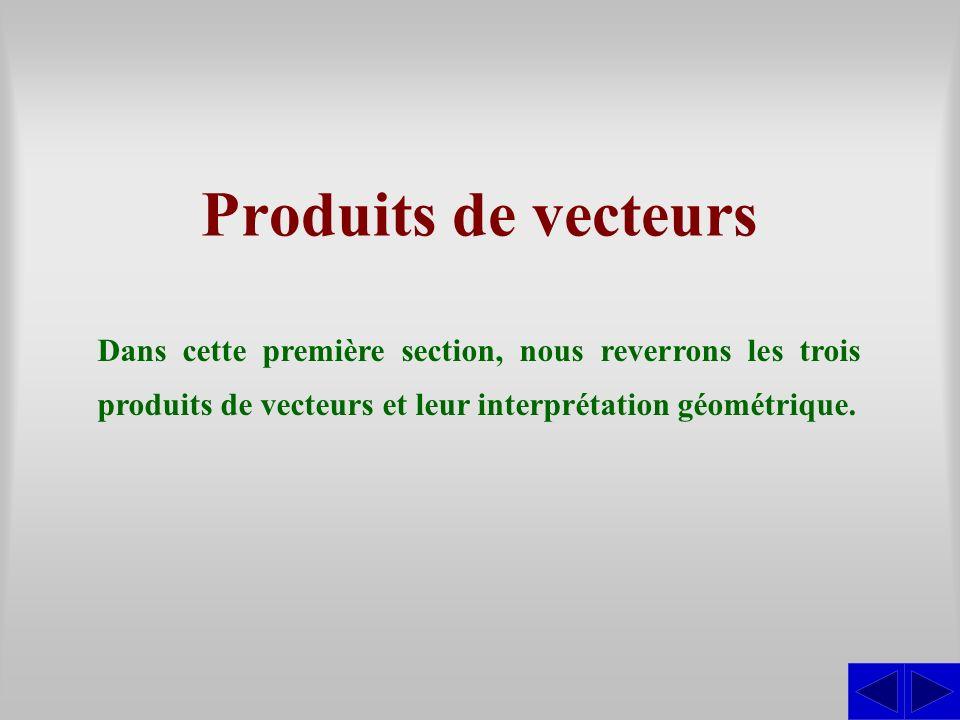 Produits de vecteurs Dans cette première section, nous reverrons les trois produits de vecteurs et leur interprétation géométrique.