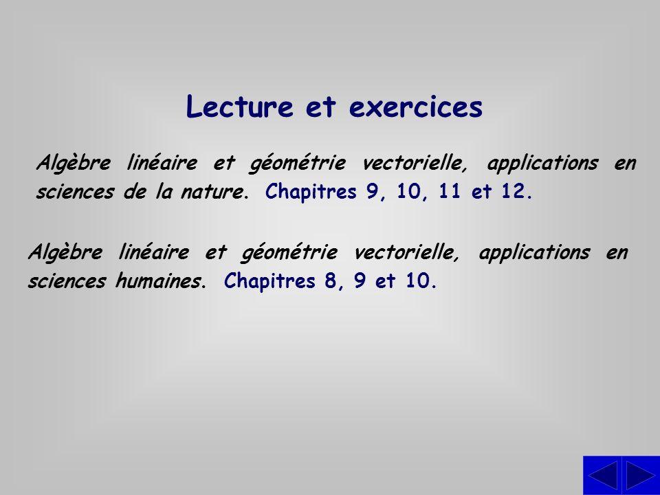 Lecture et exercices Algèbre linéaire et géométrie vectorielle, applications en sciences de la nature. Chapitres 9, 10, 11 et 12. Algèbre linéaire et