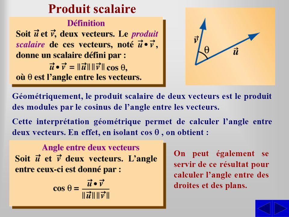 Cette interprétation géométrique permet de calculer langle entre deux vecteurs. En effet, en isolant cos, on obtient : Géométriquement, le produit sca
