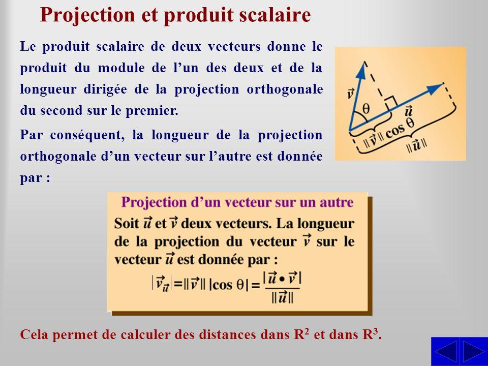 Projection et produit scalaire Cela permet de calculer des distances dans R 2 et dans R 3. Le produit scalaire de deux vecteurs donne le produit du mo