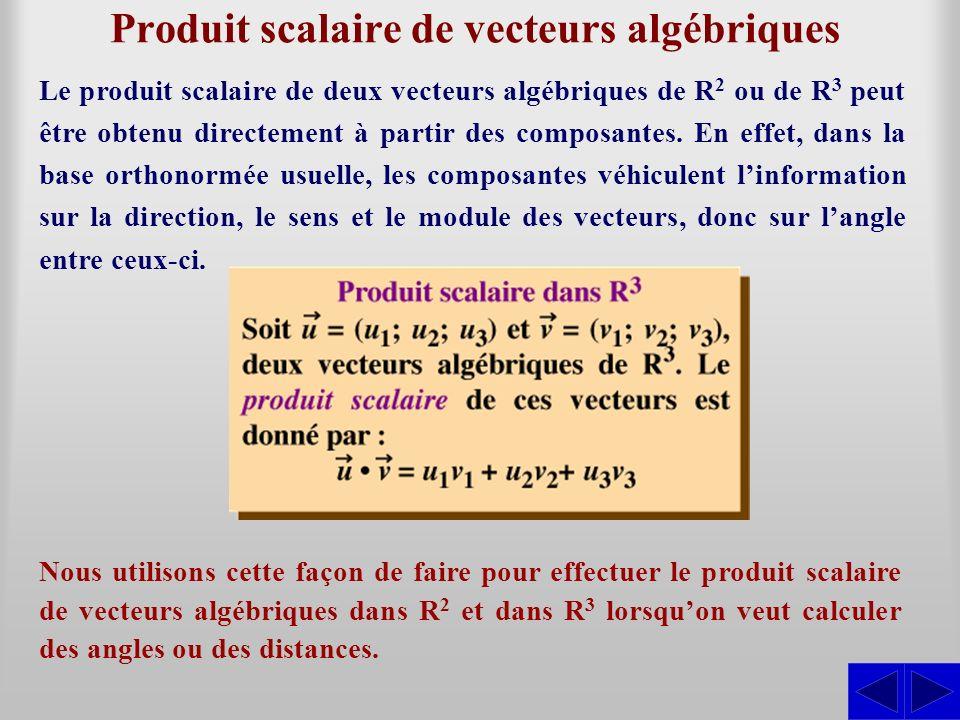 Produit scalaire de vecteurs algébriques Nous utilisons cette façon de faire pour effectuer le produit scalaire de vecteurs algébriques dans R 2 et da