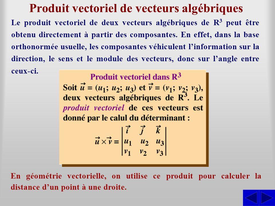 Produit vectoriel de vecteurs algébriques En géométrie vectorielle, on utilise ce produit pour calculer la distance dun point à une droite. Le produit