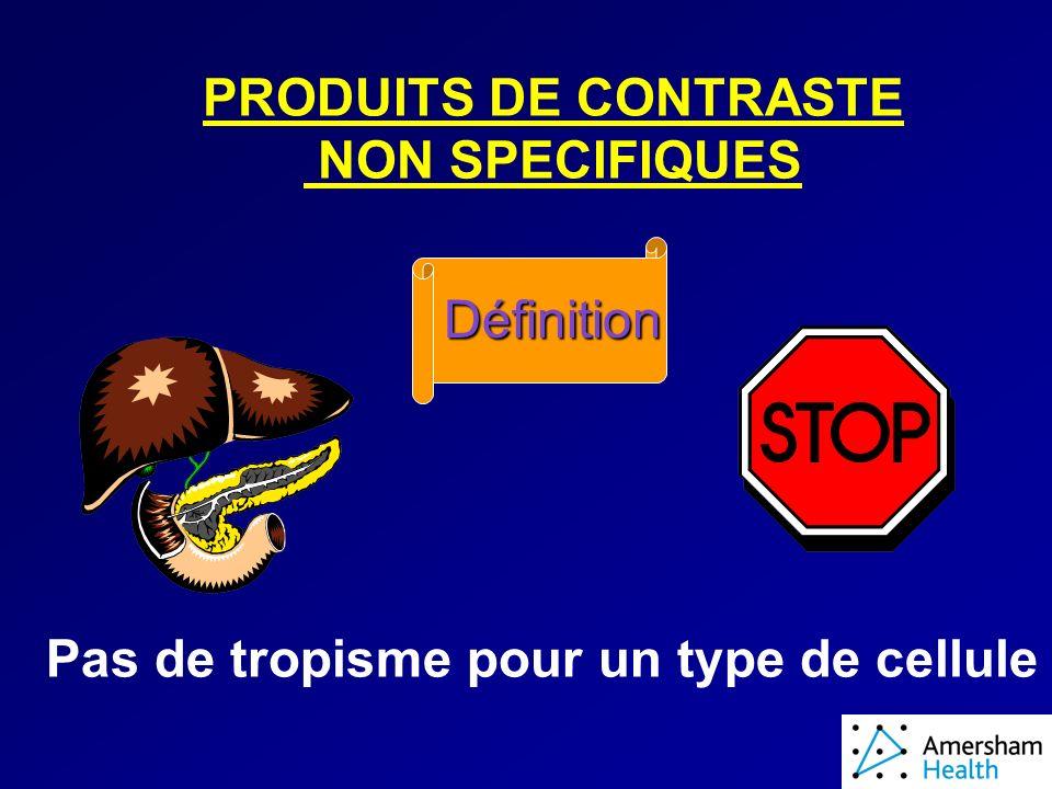 PRODUITS DE CONTRASTE NON SPECIFIQUES Définition Pas de tropisme pour un type de cellule
