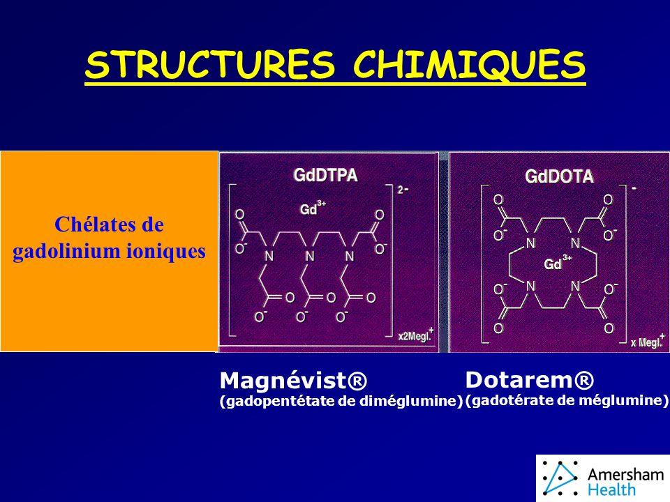 STRUCTURES CHIMIQUES Chélates de gadolinium ioniques Magnévist® (gadopentétate de diméglumine) Dotarem® (gadotérate de méglumine)