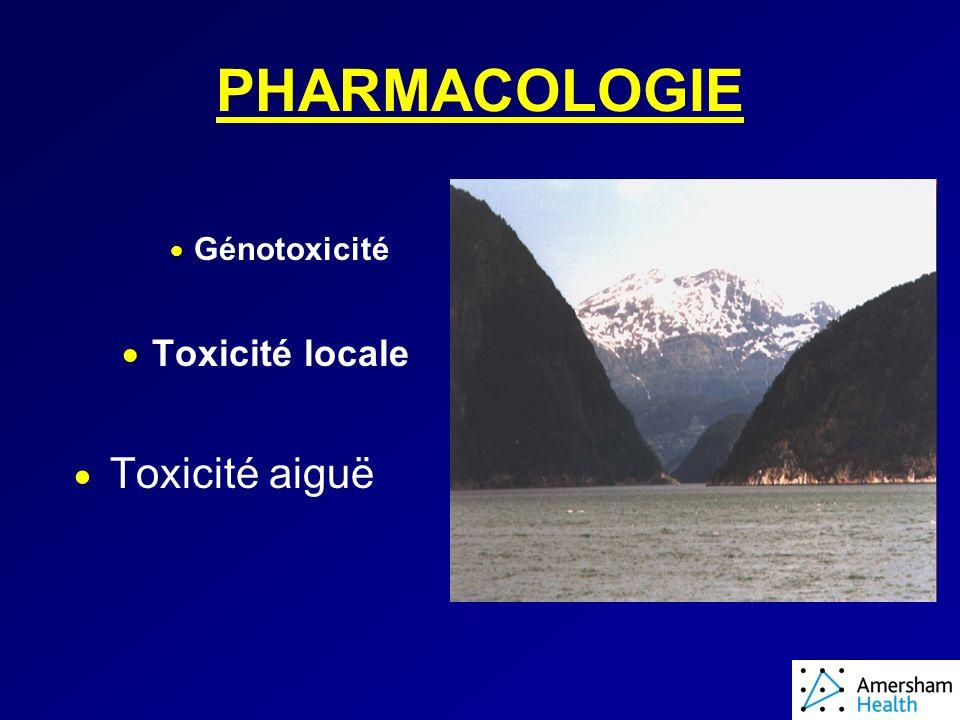 PHARMACOLOGIE Génotoxicité Toxicité locale Toxicité aiguë