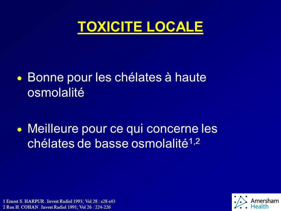 TOXICITE LOCALE Bonne pour les chélates à haute osmolalité Meilleure pour ce qui concerne les chélates de basse osmolalité 1,2 1 Ernest S.