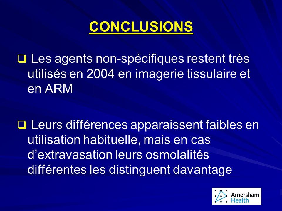 CONCLUSIONS Les agents non-spécifiques restent très utilisés en 2004 en imagerie tissulaire et en ARM Leurs différences apparaissent faibles en utilisation habituelle, mais en cas dextravasation leurs osmolalités différentes les distinguent davantage