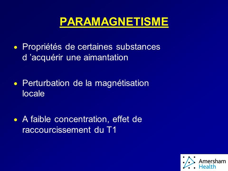 PARAMAGNETISME Propriétés de certaines substances d acquérir une aimantation Perturbation de la magnétisation locale A faible concentration, effet de raccourcissement du T1