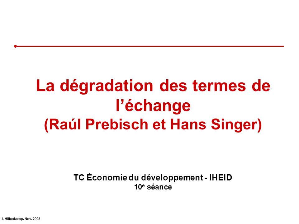 I. Hillenkamp. Nov. 2008 La dégradation des termes de léchange (Raúl Prebisch et Hans Singer) TC Économie du développement - IHEID 10 e séance