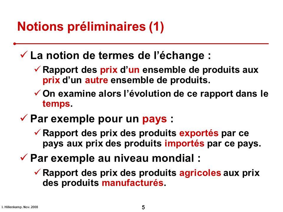 I. Hillenkamp. Nov. 2008 5 Notions préliminaires (1) La notion de termes de léchange : Rapport des prix dun ensemble de produits aux prix dun autre en