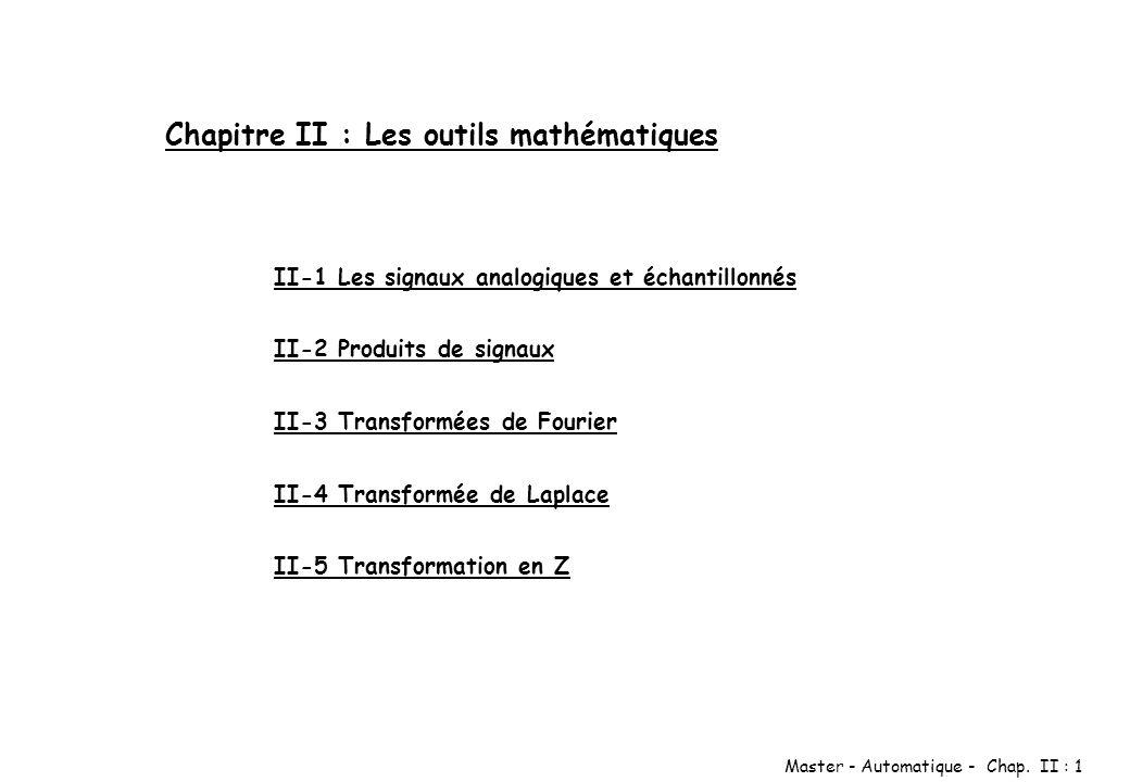 Master - Automatique - Chap. II : 1 Chapitre II : Les outils mathématiques II-1 Les signaux analogiques et échantillonnés II-2 Produits de signaux II-