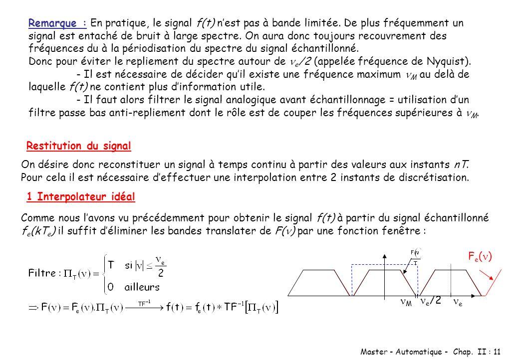 Master - Automatique - Chap. II : 11 Remarque : En pratique, le signal f(t) nest pas à bande limitée. De plus fréquemment un signal est entaché de bru