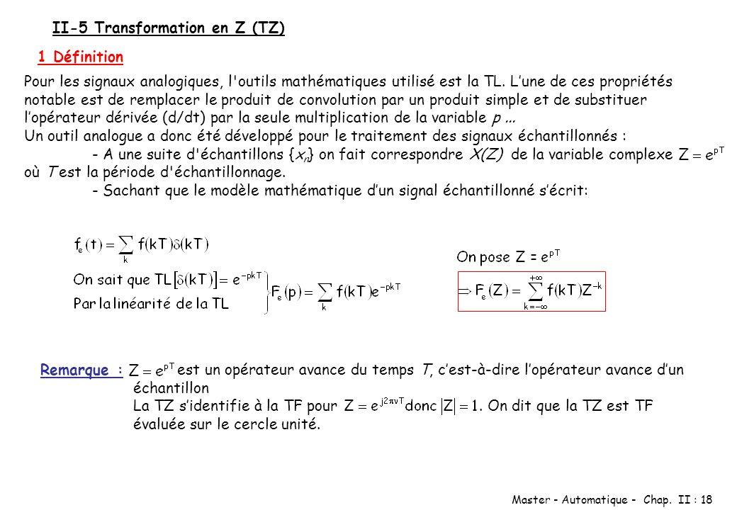 Master - Automatique - Chap. II : 18 II-5 Transformation en Z (TZ) 1 Définition Pour les signaux analogiques, l'outils mathématiques utilisé est la TL