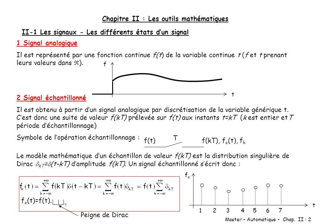 Master - Automatique - Chap. II : 2 Chapitre II : Les outils mathématiques II-1 Les signaux - Les différents états dun signal 1 Signal analogique Il e