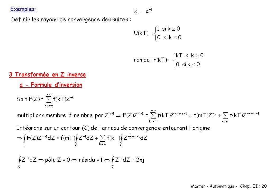Master - Automatique - Chap. II : 20 Exemples: Définir les rayons de convergence des suites : 3 Transformée en Z inverse a - Formule dinversion