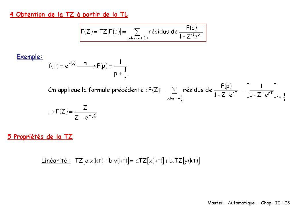 Master - Automatique - Chap. II : 23 4 Obtention de la TZ à partir de la TL Exemple: 5 Propriétés de la TZ Linéarité :