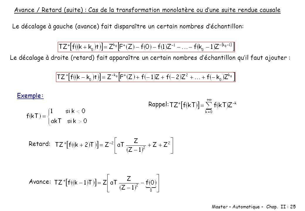 Master - Automatique - Chap. II : 25 Avance / Retard (suite) : Cas de la transformation monolatère ou dune suite rendue causale Le décalage à gauche (