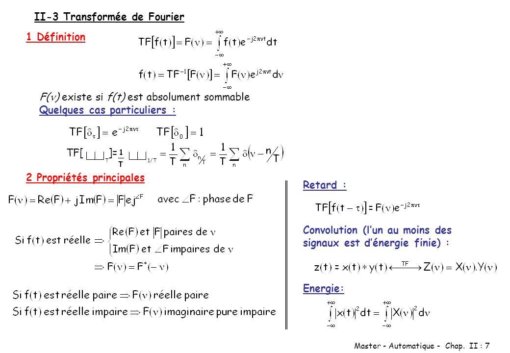Master - Automatique - Chap. II : 7 II-3 Transformée de Fourier 1 Définition F( ) existe si f(t) est absolument sommable Quelques cas particuliers : T