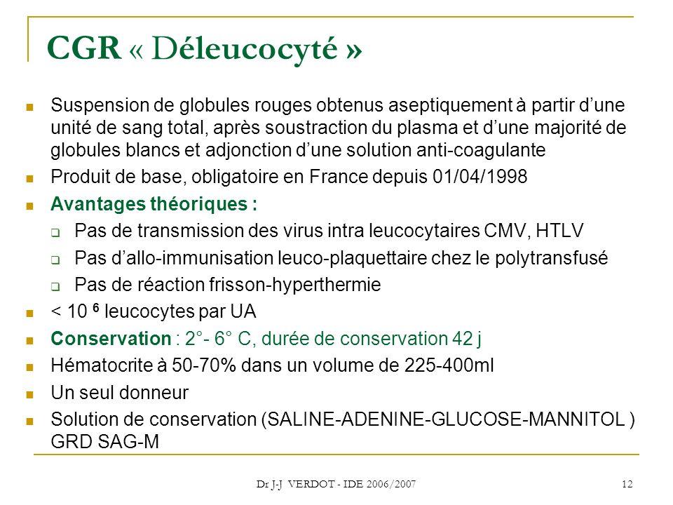 Dr J-J VERDOT - IDE 2006/2007 12 CGR « Déleucocyté » Suspension de globules rouges obtenus aseptiquement à partir dune unité de sang total, après sous