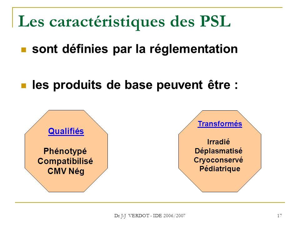 Dr J-J VERDOT - IDE 2006/2007 17 Les caractéristiques des PSL sont définies par la réglementation les produits de base peuvent être : Qualifiés Phénot