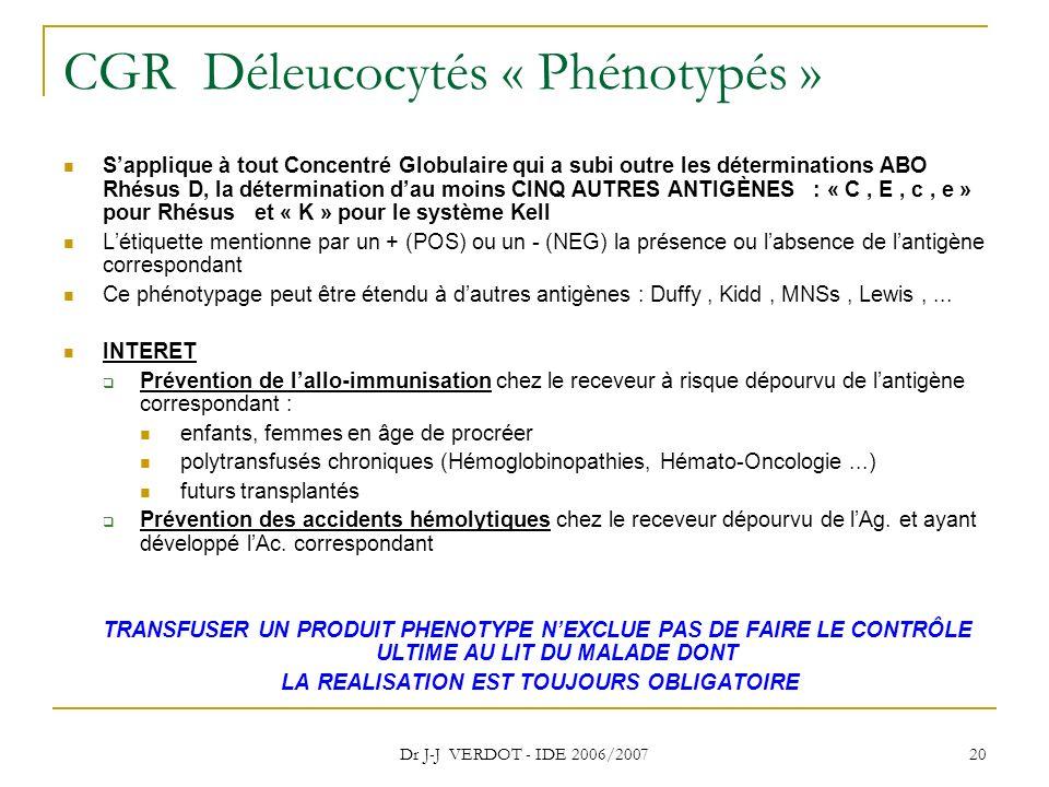 Dr J-J VERDOT - IDE 2006/2007 20 CGR Déleucocytés « Phénotypés » Sapplique à tout Concentré Globulaire qui a subi outre les déterminations ABO Rhésus