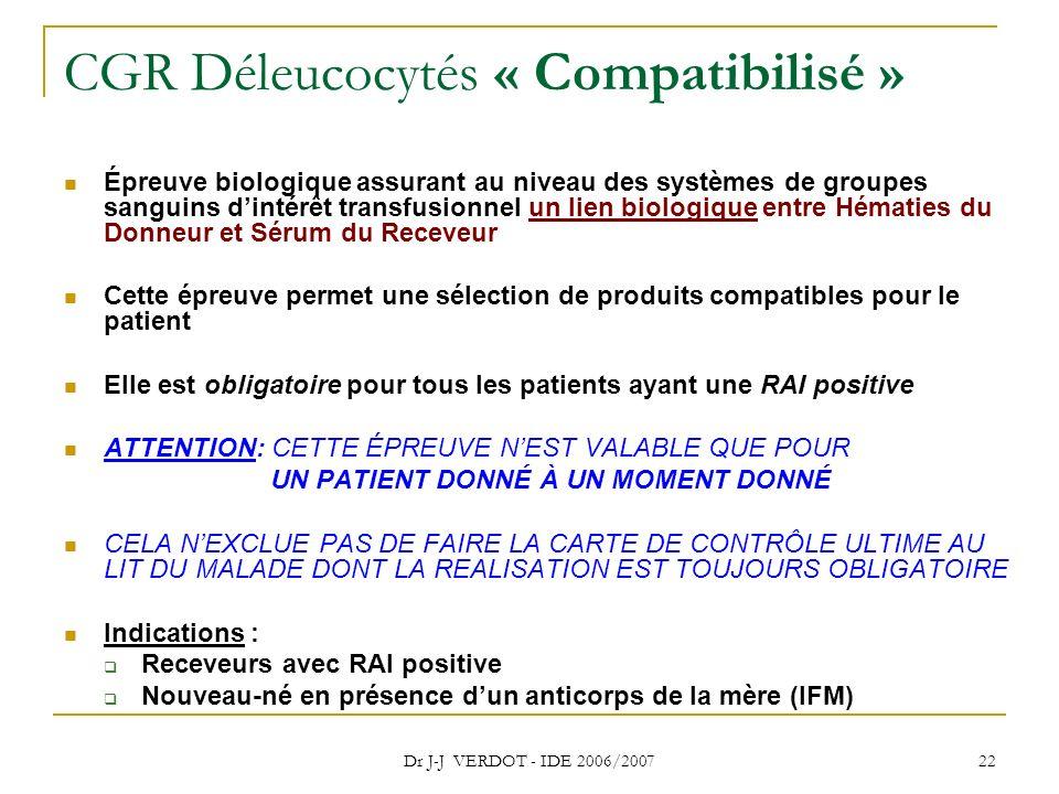 Dr J-J VERDOT - IDE 2006/2007 22 CGR Déleucocytés « Compatibilisé » Épreuve biologique assurant au niveau des systèmes de groupes sanguins dintérêt tr