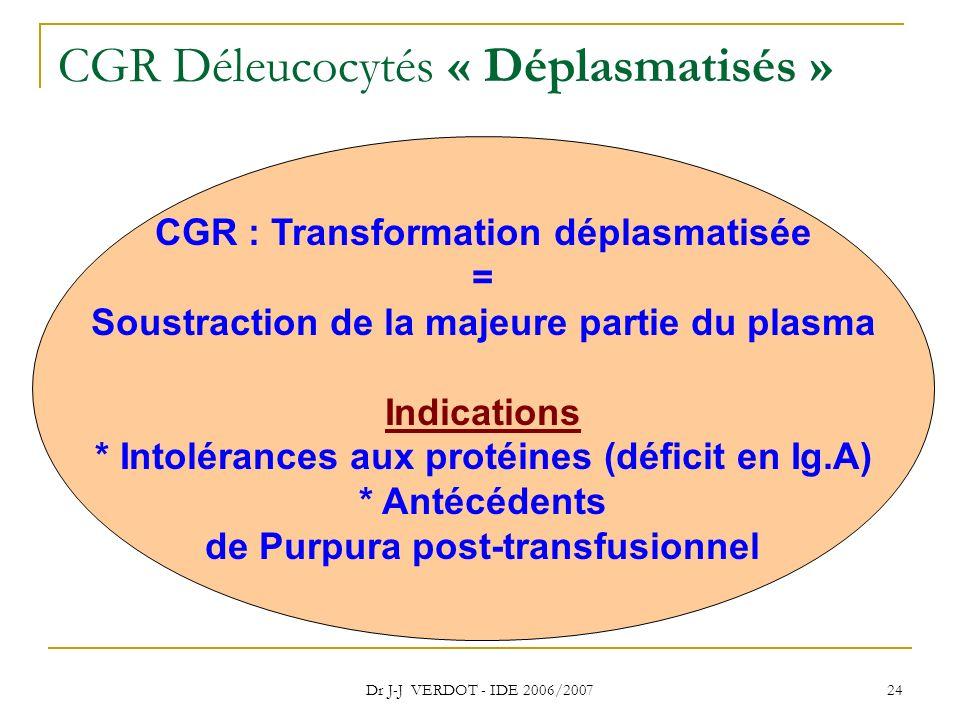 Dr J-J VERDOT - IDE 2006/2007 24 CGR Déleucocytés « Déplasmatisés » CGR : Transformation déplasmatisée = Soustraction de la majeure partie du plasma I
