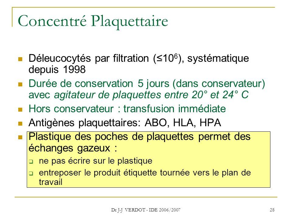 Dr J-J VERDOT - IDE 2006/2007 28 Concentré Plaquettaire Déleucocytés par filtration (10 6 ), systématique depuis 1998 Durée de conservation 5 jours (d