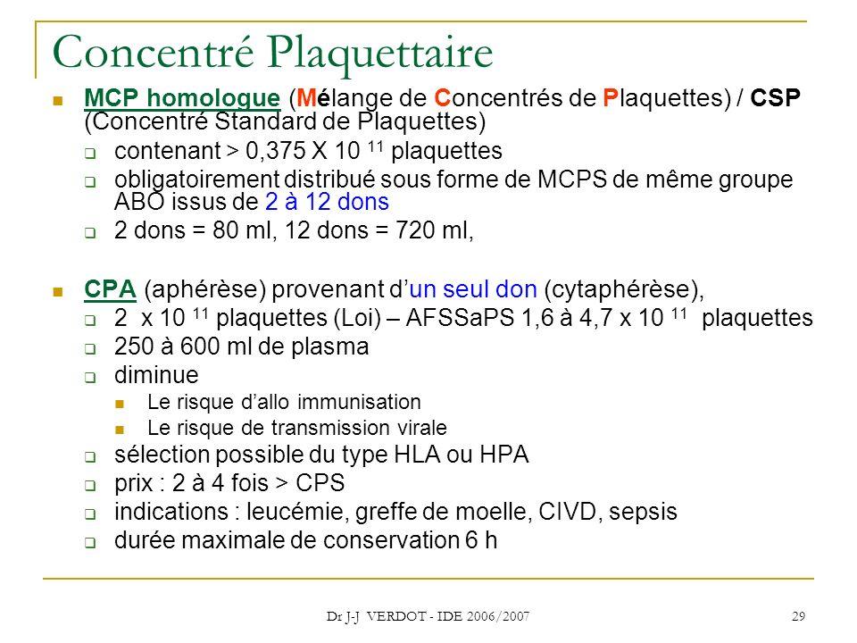 Dr J-J VERDOT - IDE 2006/2007 29 Concentré Plaquettaire MCP homologue (Mélange de Concentrés de Plaquettes) / CSP (Concentré Standard de Plaquettes) c