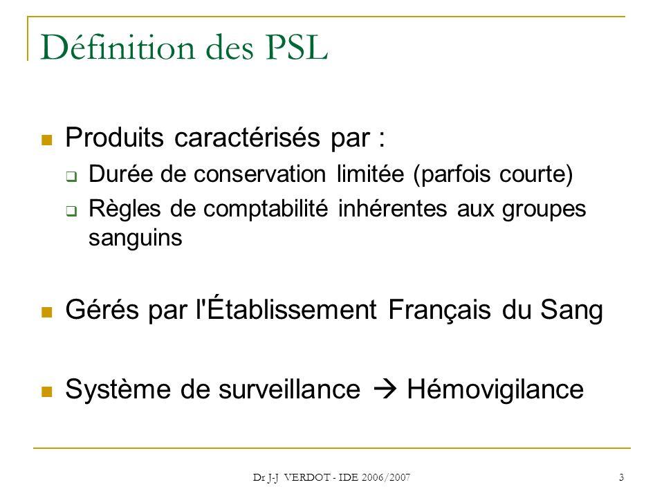 Dr J-J VERDOT - IDE 2006/2007 3 Définition des PSL Produits caractérisés par : Durée de conservation limitée (parfois courte) Règles de comptabilité i