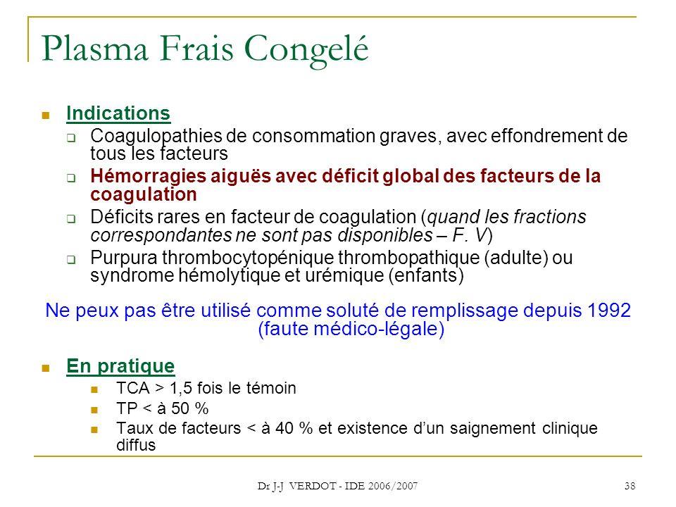 Dr J-J VERDOT - IDE 2006/2007 38 Plasma Frais Congelé Indications Coagulopathies de consommation graves, avec effondrement de tous les facteurs Hémorr