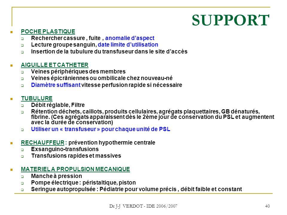 Dr J-J VERDOT - IDE 2006/2007 40 SUPPORT POCHE PLASTIQUE Rechercher cassure, fuite, anomalie daspect Lecture groupe sanguin, date limite dutilisation