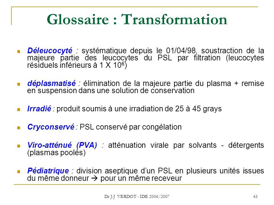 Dr J-J VERDOT - IDE 2006/2007 43 Glossaire : Transformation Déleucocyté : systématique depuis le 01/04/98, soustraction de la majeure partie des leuco