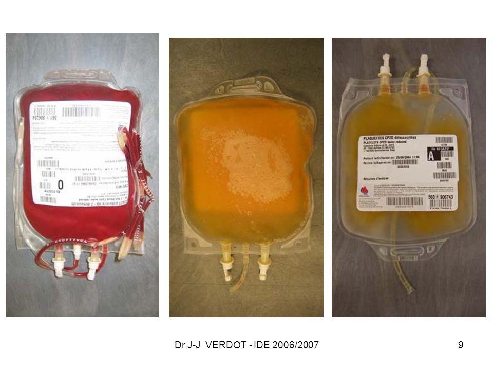 Dr J-J VERDOT - IDE 2006/2007 40 SUPPORT POCHE PLASTIQUE Rechercher cassure, fuite, anomalie daspect Lecture groupe sanguin, date limite dutilisation Insertion de la tubulure du transfuseur dans le site daccès AIGUILLE ET CATHETER Veines périphériques des membres Veines épicrâniennes ou ombilicale chez nouveau-né Diamètre suffisant vitesse perfusion rapide si nécessaire TUBULURE Débit réglable, Filtre Rétention déchets, caillots, produits cellulaires, agrégats plaquettaires, GB dénaturés, fibrine.