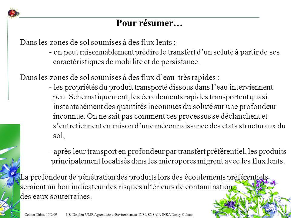 J-E. Delphin UMR Agronomie et Environnement INPL ENSAIA INRA Nancy Colmar Colmar Ddass 17/9/09 Pour résumer… Dans les zones de sol soumises à des flux