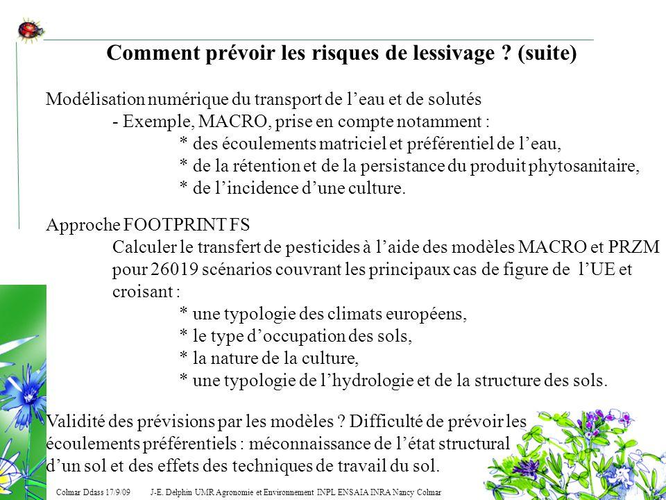 J-E. Delphin UMR Agronomie et Environnement INPL ENSAIA INRA Nancy Colmar Colmar Ddass 17/9/09 Comment prévoir les risques de lessivage ? (suite) Modé
