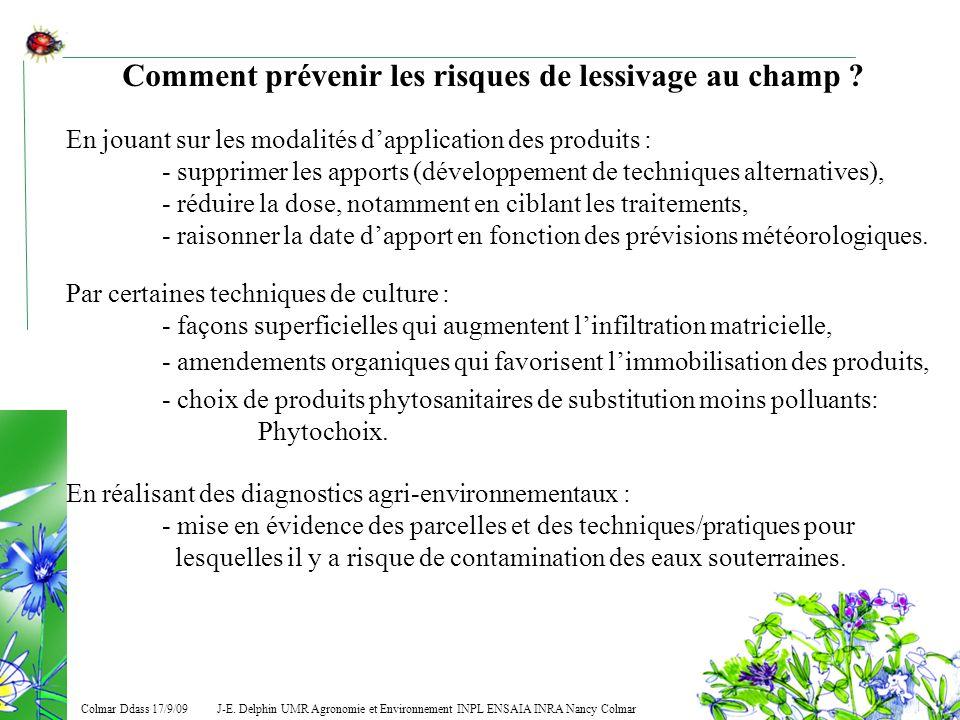 J-E. Delphin UMR Agronomie et Environnement INPL ENSAIA INRA Nancy Colmar Colmar Ddass 17/9/09 Comment prévenir les risques de lessivage au champ ? En