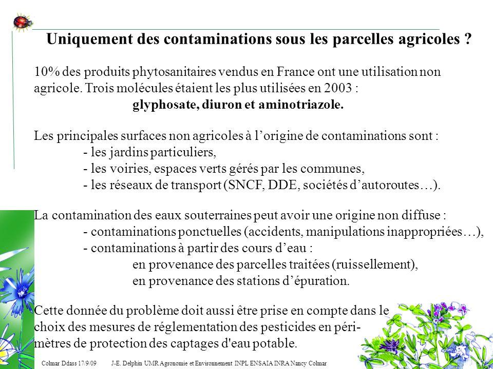 J-E. Delphin UMR Agronomie et Environnement INPL ENSAIA INRA Nancy Colmar Colmar Ddass 17/9/09 Uniquement des contaminations sous les parcelles agrico