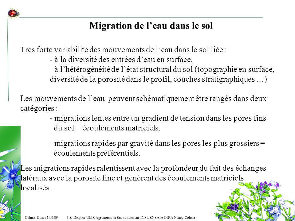 J-E. Delphin UMR Agronomie et Environnement INPL ENSAIA INRA Nancy Colmar Colmar Ddass 17/9/09 Migration de leau dans le sol Très forte variabilité de