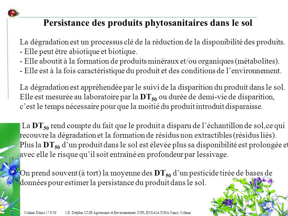 J-E. Delphin UMR Agronomie et Environnement INPL ENSAIA INRA Nancy Colmar Colmar Ddass 17/9/09 Persistance des produits phytosanitaires dans le sol La