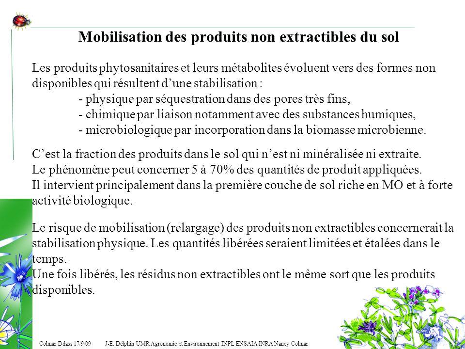 J-E. Delphin UMR Agronomie et Environnement INPL ENSAIA INRA Nancy Colmar Colmar Ddass 17/9/09 Mobilisation des produits non extractibles du sol Les p