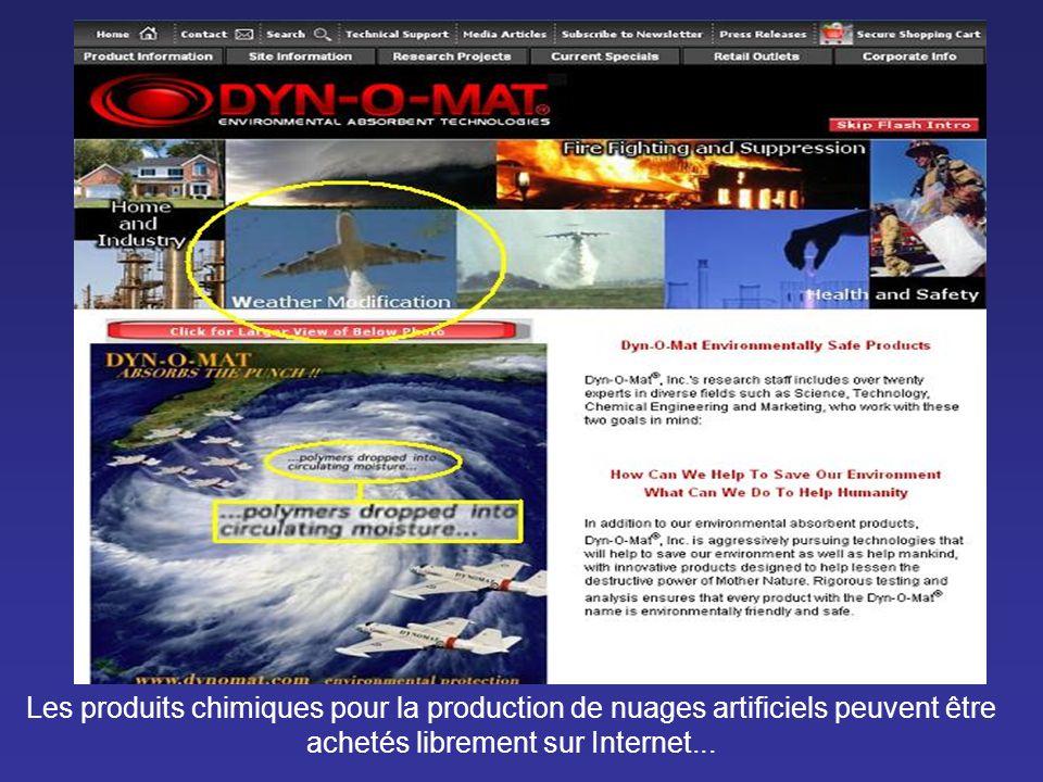 Les produits chimiques pour la production de nuages artificiels peuvent être achetés librement sur Internet...