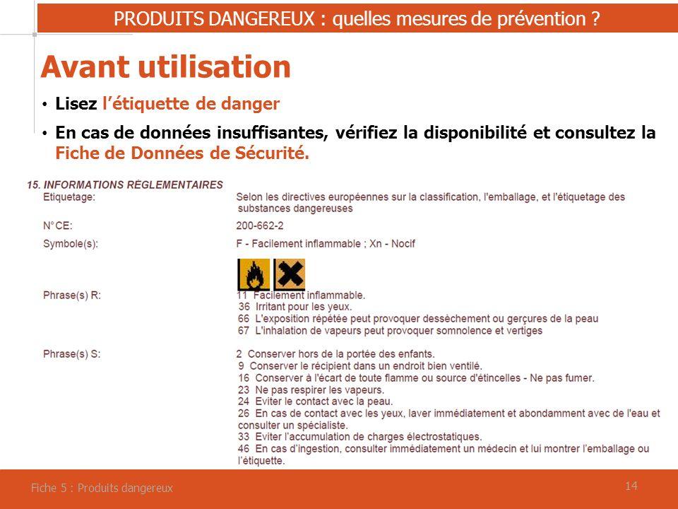 14 PRODUITS DANGEREUX : quelles mesures de prévention .