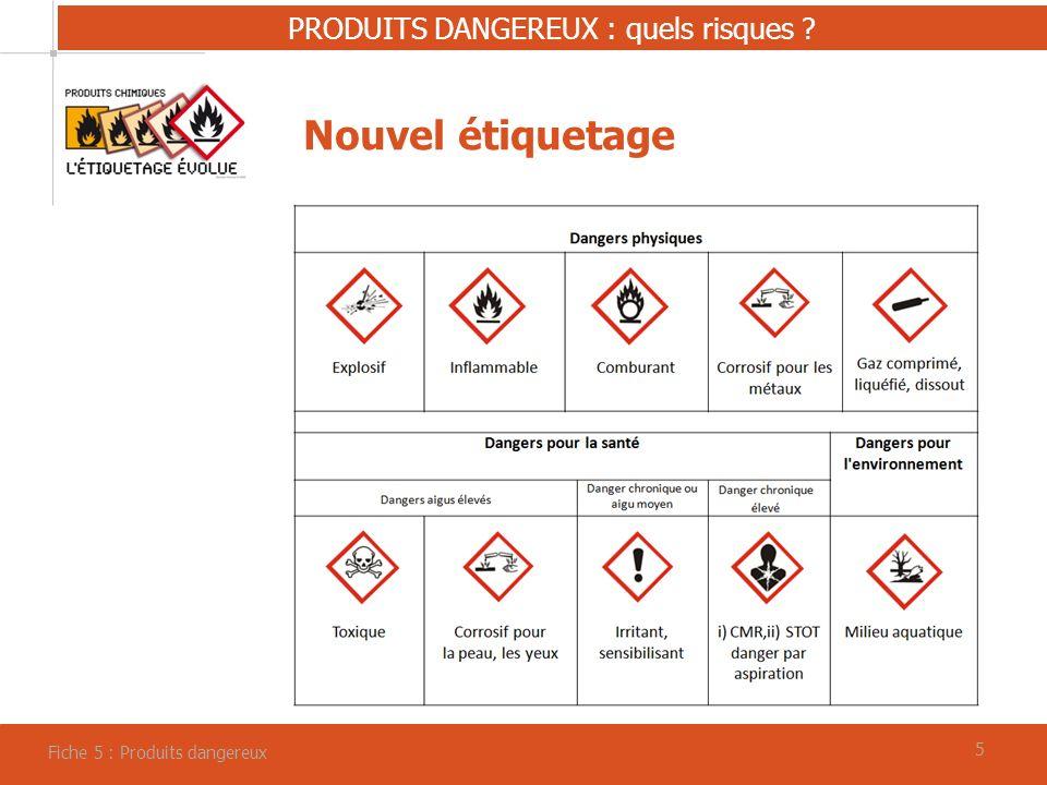 55 PRODUITS DANGEREUX : quels risques ? Fiche 5 : Produits dangereux Nouvel étiquetage