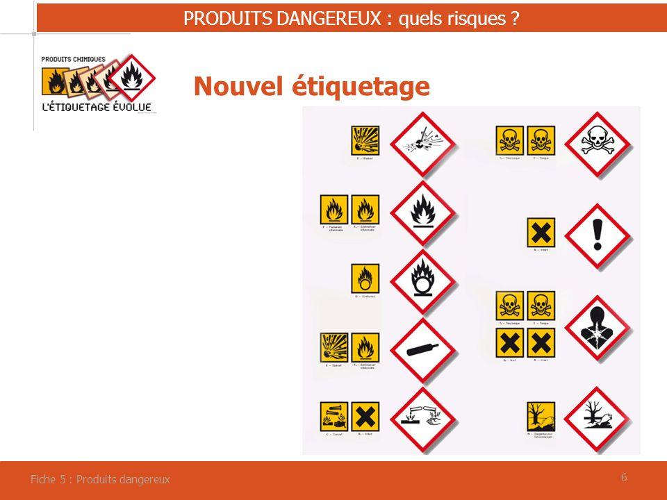 66 PRODUITS DANGEREUX : quels risques ? Fiche 5 : Produits dangereux Nouvel étiquetage