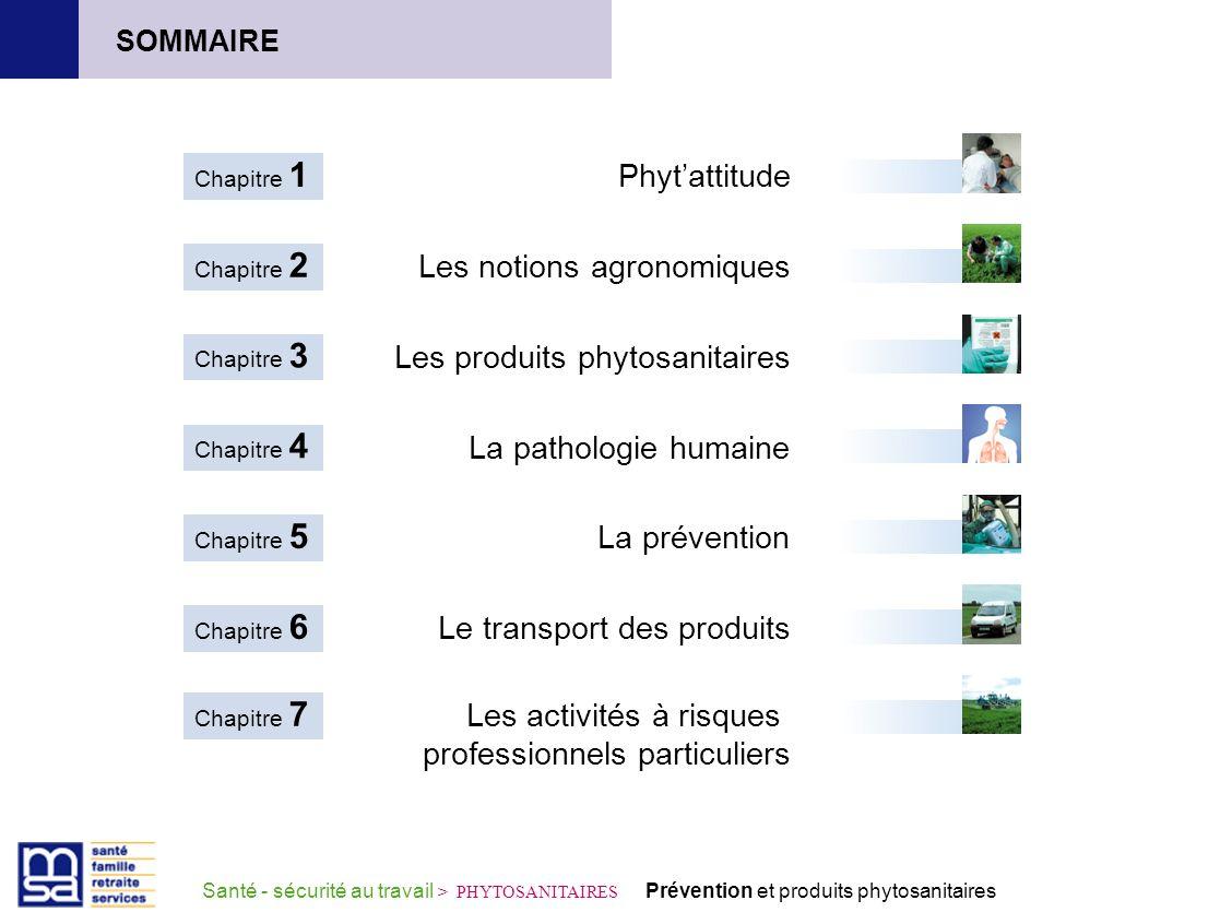 Phytattitude Chapitre 1 Les notions agronomiques Chapitre 2 Les produits phytosanitaires Chapitre 3 La pathologie humaine Chapitre 4 La prévention Cha