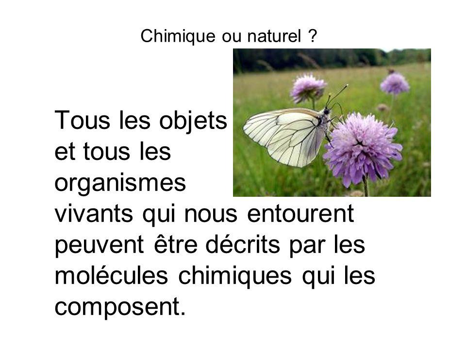 Chimique ou naturel ? Tous les objets et tous les organismes vivants qui nous entourent peuvent être décrits par les molécules chimiques qui les compo