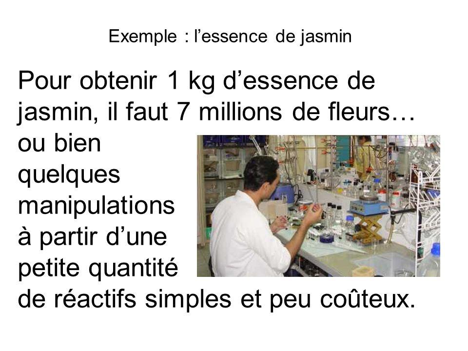 Exemple : lessence de jasmin Pour obtenir 1 kg dessence de jasmin, il faut 7 millions de fleurs… ou bien quelques manipulations à partir dune petite q