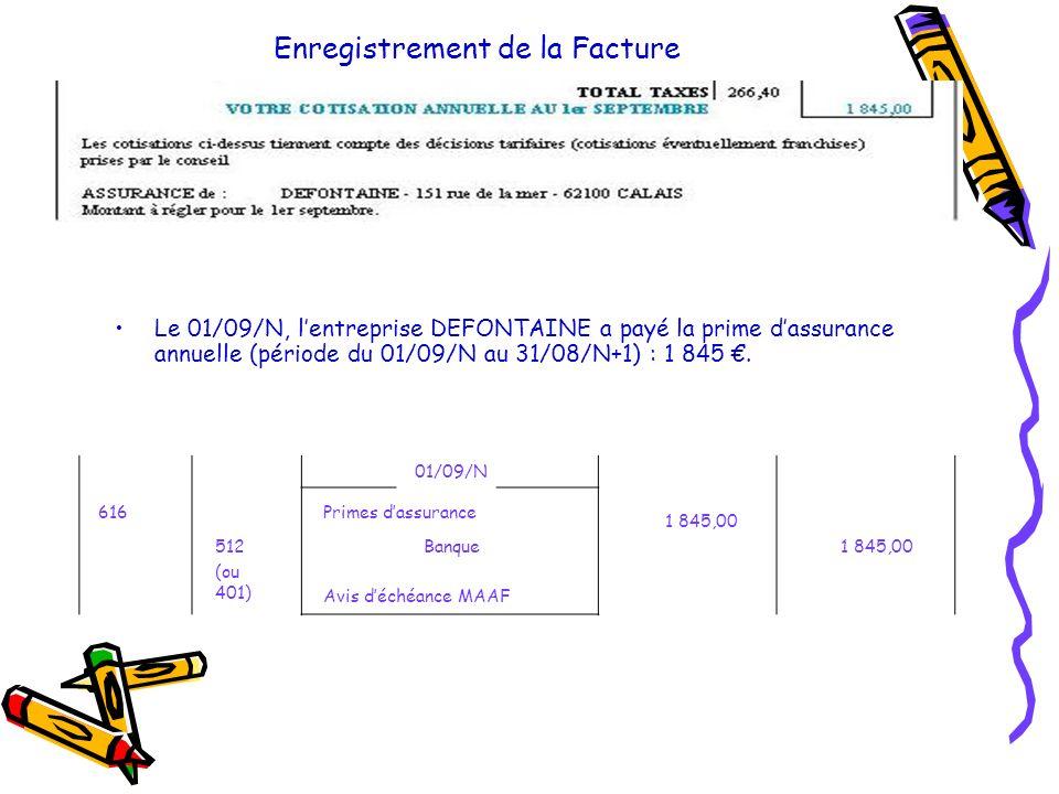 Enregistrement de la Facture Le 01/09/N, l entreprise DEFONTAINE a payé la prime d assurance annuelle (période du 01/09/N au 31/08/N+1) : 1 845. 01/09